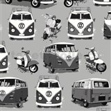 Papírové tapety Volkswagen bus and bike