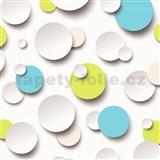 Vliesové tapety Just Like It 3D kuličky bílé, modré, zelené