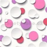 Vliesové tapety Just Like It 3D kuličky bílé, růžové, fialové