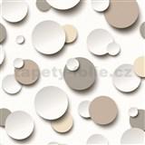 Vliesové tapety Just Like It 3D kuličky bílé, hnědé, šedé