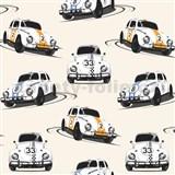 Papírové tapety Volkswagen Beetle bílý, modrý, oranžový
