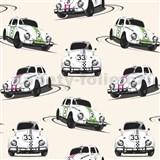 Vinylové tapety  Jet Setter Volkswagen Beetle bílý, růžový, zelený