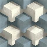 Vliesové tapety na zeď 3D kostky bílo-modré