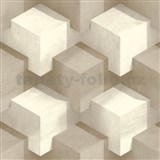Vliesové tapety na zeď PRISME 3D kostky bílo-hnědé