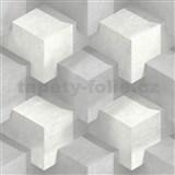 Vliesové tapety na zeď 3D kostky bílo-šedé