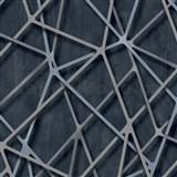Vliesové tapety na zeď IMPOL Galactik 3D hrany modro-stříbrné na černém podkladu