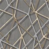 Vliesové tapety na zeď IMPOL Galactik 3D hrany béžovo-stříbrné na hnědém podkladu MEGA SLEVA