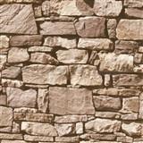 Papírové tapety na zeď IMPOL kamenná stěna hnědá