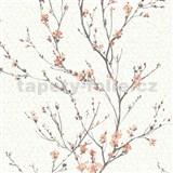 Vliesové tapety na zeď IMPOL Jardin Secret větvičky s oranžovými květy na krémovém podkladu