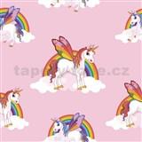 Papírové tapety na zeď IMPOL Unicorn s duhou na růžovém podkladu