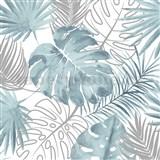 Vliesové tapety na zeď IMPOL Escapade listy palmy a monstery aqua-stříbrné