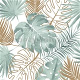 Vliesové tapety na zeď IMPOL Escapade listy palmy a monstery zeleno-zlaté