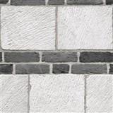 Vliesové tapety na zeď cihly šedo - černé