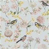 Vliesové tapety na zeď IMPOL Escapade florální vzor s ptáky na modrém podkladu