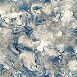 Vliesové tapety na zeď IMPOL Reflets mramor modro-bílý se zlatými odlesky