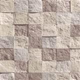 Vliesové tapety na zeď Roll in Stones mozaika kamenná hnědo-růžová