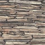 Vliesové tapety na zeď Kaleidoscope ukládaný kámen hnědý