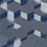 Vliesové tapety na zeď IMPOL Galactik 3D hexagony kovově modré