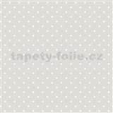 Vliesové tapety na zeď IMPOL bílé puntíky na šedém podkladu