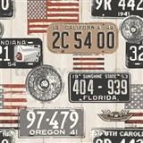 Vinylové tapety na zeď Kaleidoscope dřevěná prkna s automobilovými značkami