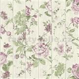 Vliesové tapety na zeď Virtual Vision dřevěné latě s květy fialové