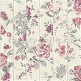 Vliesové tapety na zeď Virtual Vision dřevěné latě s květy růžové