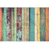Vliesové fototapety dřevěná prkna Colored Wooden Wall rozměr 366 cm x 254 cm