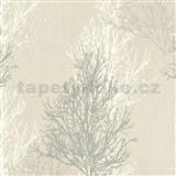 Vinylové tapety na zeď Adelaide stromky šedo-bílé na krémovém podkladu
