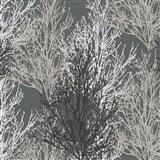 Vinylové tapety na zeď Adelaide stromky šedé, černé, bílé na šedém podkladu