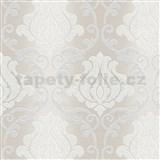 Vinylové tapety na zeď Adelaide ornamenty bílo-stříbrné na světle hnědém podkladu