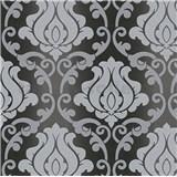 Vinylové tapety na zeď Adelaide ornamenty šedé na černém podkladu