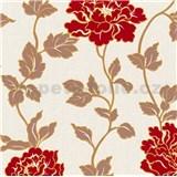 Vinylové tapety na zeď Adelaide květiny červené s hnědými lístky na bílém strukturovaném podkladu