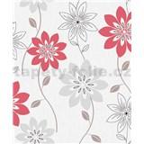 Vliesové tapety na zeď Allure květy červené a šedé