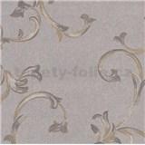 Vliesové tapety na zeď Allure ornamenty oranžovo-hnědé se zlatým leskem