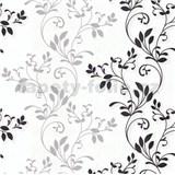Vliesové tapety na zeď Allure rostlinný vzor šedo-černý se třpytem