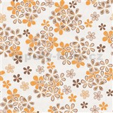 Vliesové tapety na zeď Allure květy hnědo-oranžové