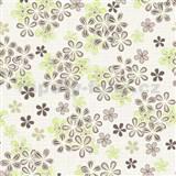 Vliesové tapety na zeď Allure květy hnědo-zelené