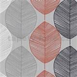 Papírové tapety na zeď Options listy oranžovo-šedé
