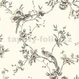 Papírové tapety na zeď Options květy s pávem krémový podklad