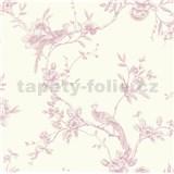 Papírové tapety na zeď Options květy s pávem růžové
