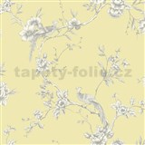 Papírové tapety na zeď Options květy s pávem žlutý podklad