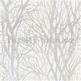 Vliesové tapety na zeď větve stromů perleťové na bílém podkladu