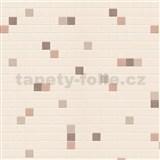 Vinylové tapety na zeď kachličky hnědé na béžovém podkladu