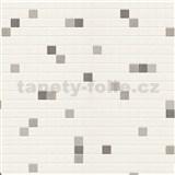 Vinylové tapety na zeď kachličky stříbrno-hnědé na krémovém podkladu