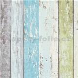 Vliesové tapety na zeď Wood n Stone dřevěné desky modro-zelené