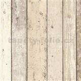 Vliesové tapety na zeď Wood n Stone dřevěné desky světle hnědé