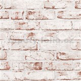 Vliesové tapety na zeď Wood n Stone cihla červená s bílým nátěrem