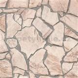 Vliesové tapety na zeď Wood n Stone štípaný kámen světle hnědý