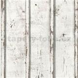 Vliesové tapety na zeď Wood´n Stone desky dřevěné bílé