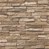 Vliesové tapety na zeď Wood´n Stone kámen středně hnědý